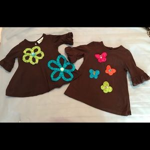 Rare Editions Brown Flower Tunics (2)